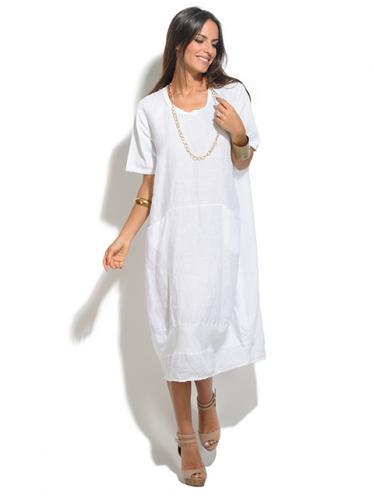 2b9dd2e9c541 100% Lin Dámske šaty 1029147-BLANC