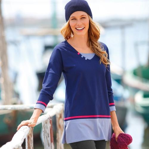 Blancheporte Jednofarebné tričko s výšivkou nám. modrá