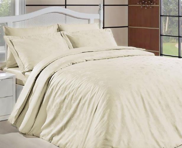 Damaskové obliečky Sal krémové jednolôžko - štandard, prikrývka: 1ks 140x200 cm, vankúš: 1ks 90x70 cm Bavlnený satén