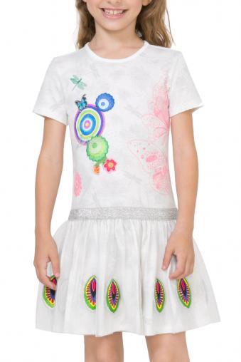 d11fca3a3b02 Desigual biele dievčenské šaty Dakar