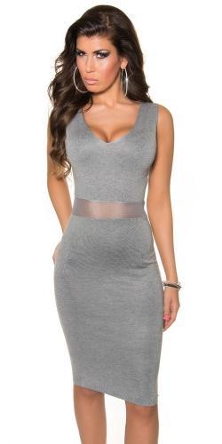 Úpletové šaty sivé Koucla in-sat1057gr