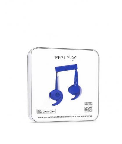 Modré športové slúchadlá Happy Plugs