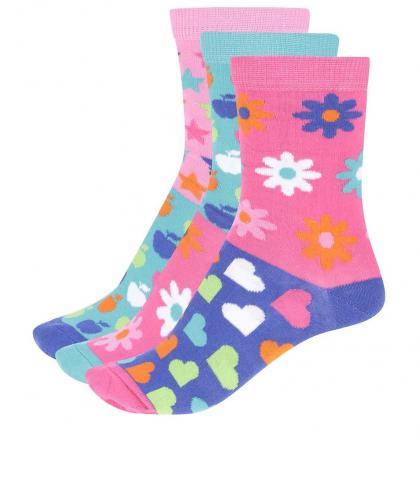 Súprava troch farebných dámskych/dievčenských ponožiek Oddsocks Apples