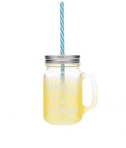 Žltý sklenený pohár so slamkou CGB