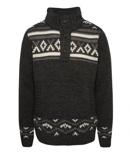 Tmavosivý vzorovaný sveter s vysokým golierom Blend