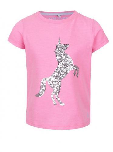 37722deb6e5c Ružové dievčenské tričko s flitrovaným motívom jednorožca Tom Joule