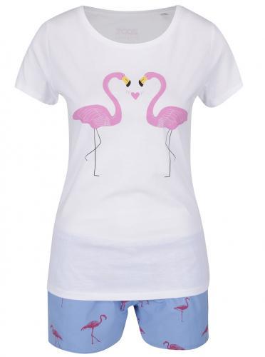 Bielo-ružovo-modré dámske pyžamo ZOOT Originál Plameniaci