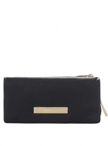 Čierna kožená peňaženka s detailmi v zlatej farbe Liberty by Gionni Fernanda