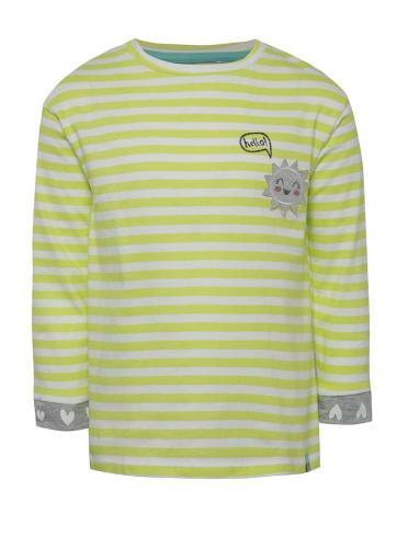 Zeleno-biele dievčenské pruhované tričko s dlhým rukávom 5.10.15.