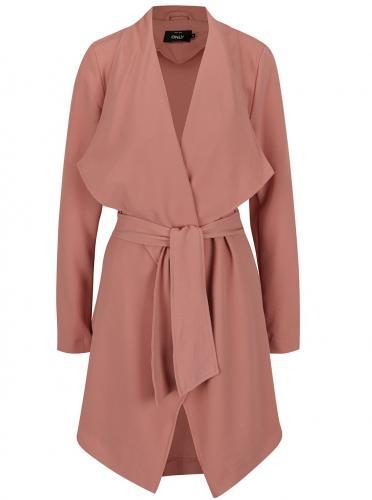Ružový tenký kabát so zaväzovaním v páse ONLY Runa