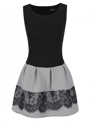 b176eef5f1f2 Bielo-čierne šaty s pruhovanou sukňou a čipkou Haily´s Tamy