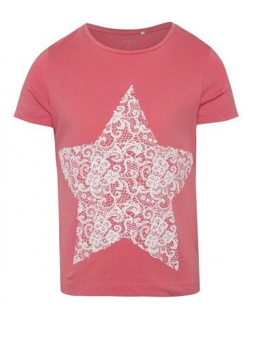 Ružové dievčenské tričko s potlačou hviezd name it Iben