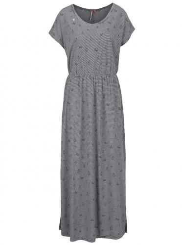Tmavomodré dlhé vzorované šaty Ragwear Arlene
