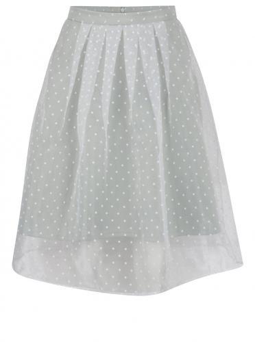 Krémovo-zelená bodkovaná sukňa Miss Selfridge Petites