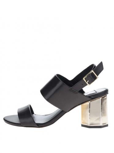 013659495d171 Čierne sandálky s podpätkom v zlatej farbe Miss Selfridge