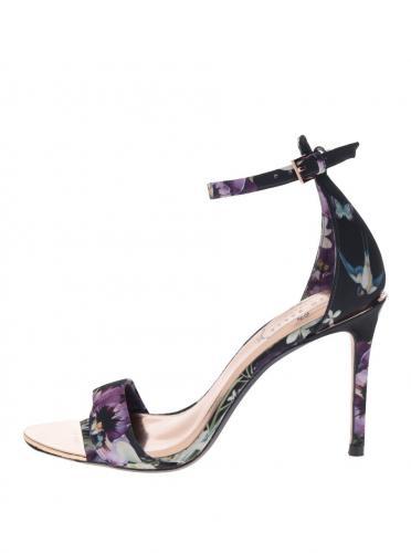 2db46dc0cd03 Tmavomodré kvetované sandále na podpätku Ted Baker