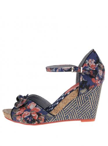 40bf08708014 Tmavomodré kvetované sandály na plnom podpätku Ruby Shoo Molly