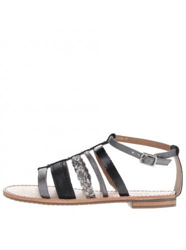 93b2924daf74 Čierne dámske kožené sandále s detailmi v striebornej farbe Geox Sozy