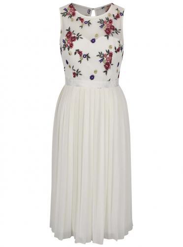 Krémové kvetinové midi šaty s plisovanou sukňou Little Mistress