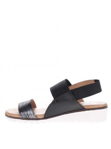 Čierne kožené sandále s trblietavým remienkom OJJU