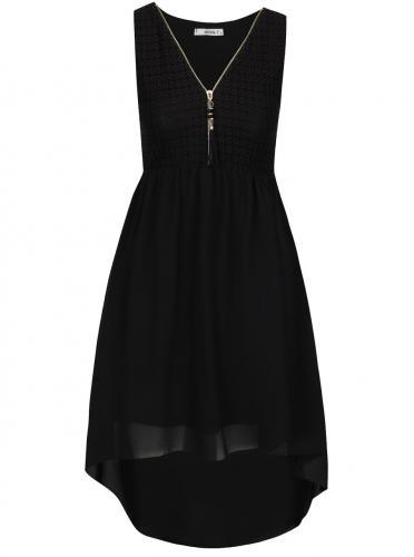 Čierne šaty s čipkovaným topom Haily´s Jacy