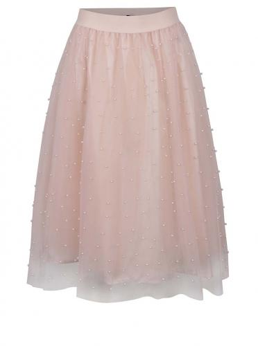 Ružová midi sukňa s korálovou aplikáciou Little Mistress