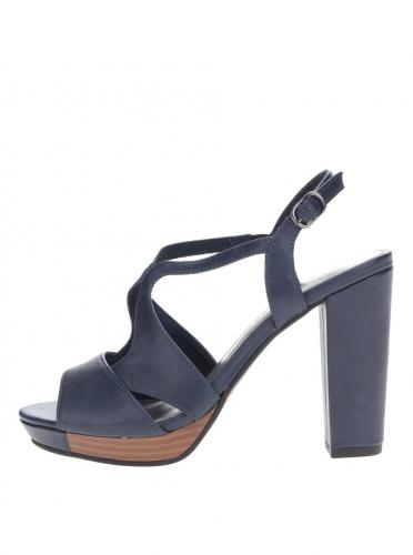 2d7cb27f7ae0 Tmavomodré sandále na vysokom podpätku Tamaris