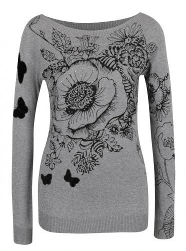 Sivý kvetovaný sveter s lodičkovým výstrihom Desigual See