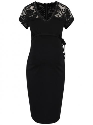 0ed08ebeaf8b Čierne tehotenské šaty s čipkovaným topom Mama.licious Blackie