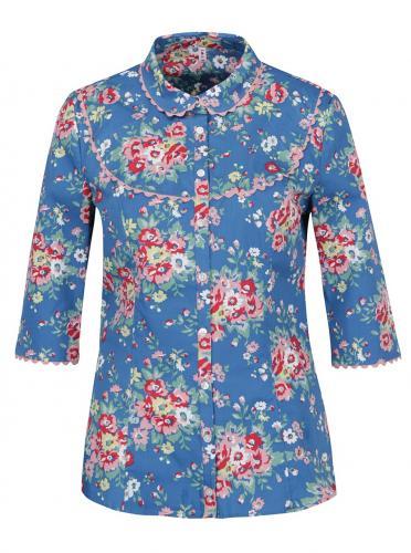 Modrá kvetovaná košeľa s 3/4 rukávmi Blutsgeschwister