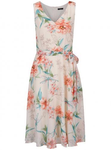 Svetloružové kvetované šaty so zaväzovaním M&Co