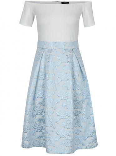 Krémové šaty s odhalenými ramenami a kvetovanou sukňou AX Paris