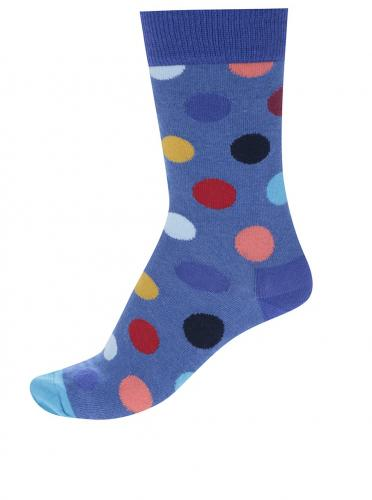 35c293617 Modré dámske bodkované ponožky Happy Socks Big Dot
