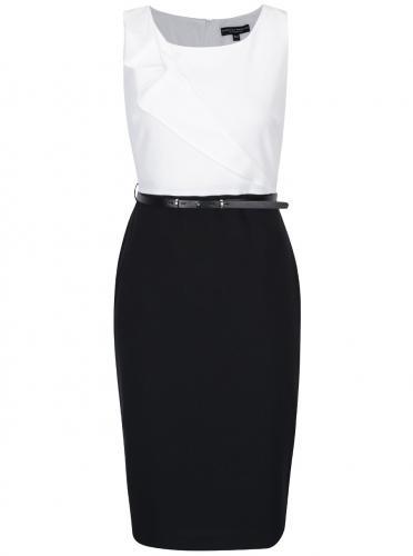 9199532ae283 Bielo-čierne puzdrové šaty s opaskom a volánom Dorothy Perkins