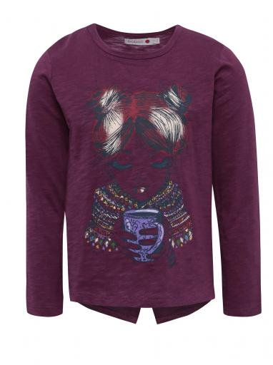 44f5f076648a Fialové dievčenské tričko s potlačou a dlhým rukávom BÓBOLI