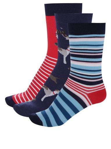 8bd0bb34d3fde Súprava troch párov dámskych ponožiek v modrej a červenej farbe Tom Joule  Brilliant Bamboo Dog
