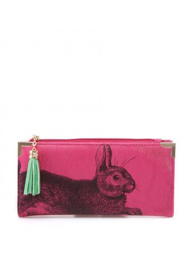 Ružová rozkladacia peňaženka s králikom Disaster Bohemia