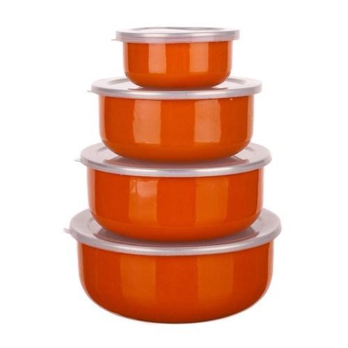 8dílná smaltovaná sada misek Belly, oranžová