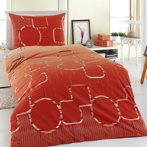 Night in Colours Bavlněné povlečení Myra oranžová, 140 x 220 cm, 70 x 90 cm