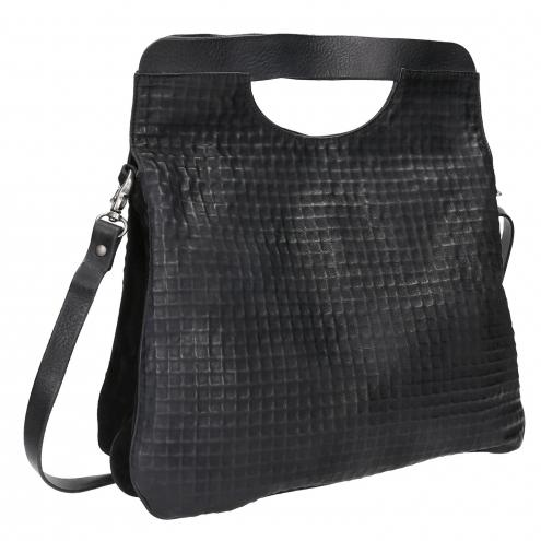 Černá kožená kabelka do ruky