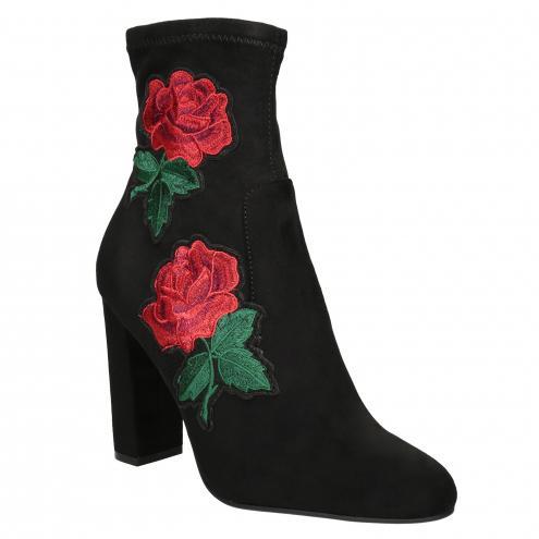 Kotníčkové kozačky s výšivkou růží