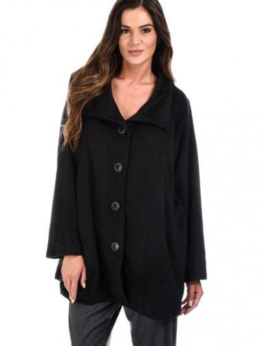 Bella Blue Dámský kabát A5-H2314 NOIR