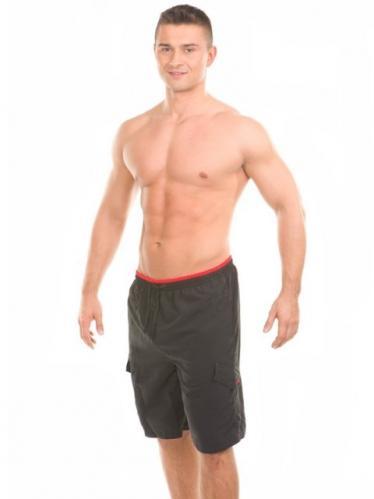 Aquaspeed Pánské plavecké šortky SWIMWEAR MARK BLACK RED