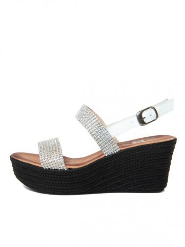 Julie Julie Dámské sandály na klínku 300_8177_STRASS_BIANCO