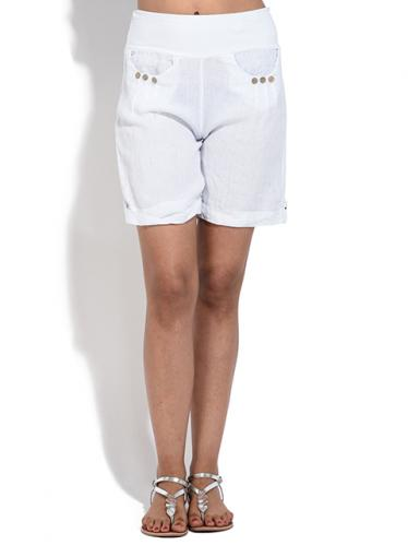 100% Lin Dámské šortky 6276 - SHORT KIM P2578 BLANC