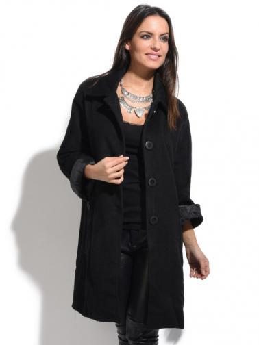 Bella Blue Dámský kabát A5-H2327 NOIR