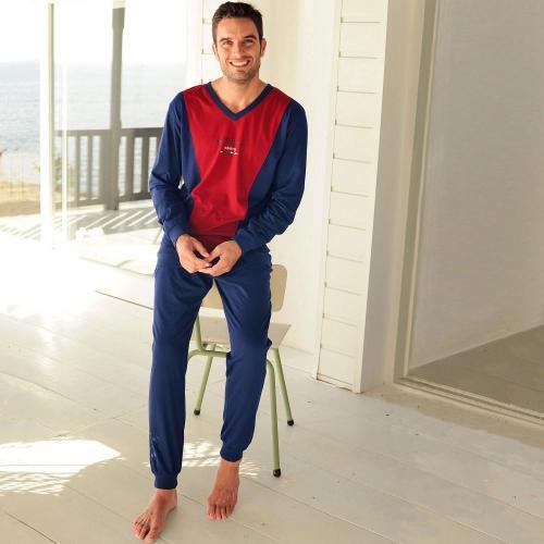 Blancheporte Dvoubarevné pyžamo s kalhotami nám.modrá/bordó