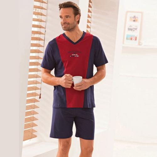 Blancheporte Dvoubarevné pyžamo se šortkami černá/modrá