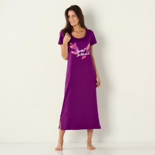 Blancheporte Dlouhá noční košile s potiskem peříček švestková