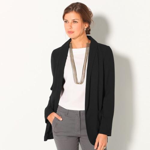 Blancheporte Úpletové jednobarevné sako černá